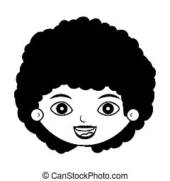 front face girl silhouette with curly black hair vector...