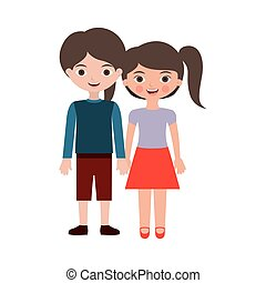 couple of kids togheter hands entwined vector illustration