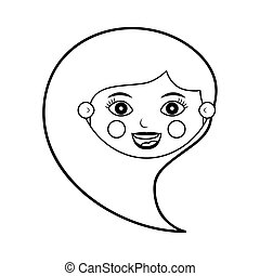 front face female silhouette with hair from side vector...