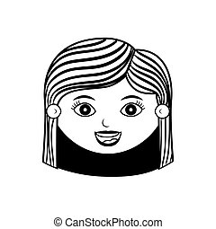 front face woman silhouette with hair striped vector...