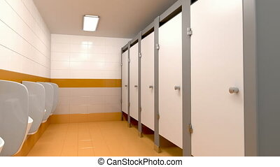 Men's public toilet, 3d animation