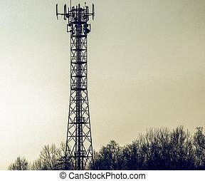 Mirar, vendimia, torre, aéreo, telecomunicación