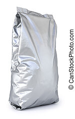 package - aluminum foil package. Isolated on white...