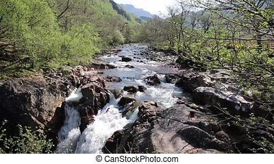 Beautiful Scottish Highlands Glen Nevis river Scotland UK...