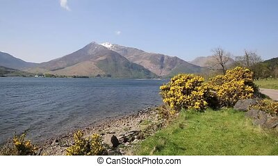 Loch Leven Lochaber Geopark Scotland uk view to Glen coe in...