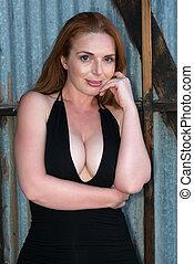 Redhead in black - Beautiful tall redhead in a black dress