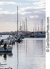 Olhao city marina - View of the olhao city marina with...