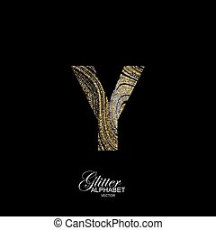 Curly textured Letter Y. - Letter Y of golden and silver...
