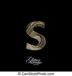 Curly textured Letter S. - Letter S of golden and silver...