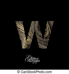 Curly textured Letter W. - Letter W of golden and silver...