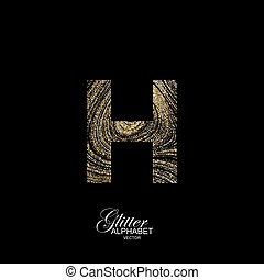 Curly textured Letter H. - Letter H of golden and silver...