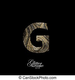 Curly textured Letter G. - Letter G of golden and silver...
