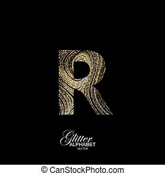 Curly textured Letter R. - Letter R of golden and silver...