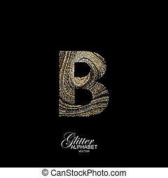Curly textured Letter B. - Letter B of golden and silver...