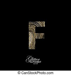 Curly textured Letter F. - Letter F of golden and silver...