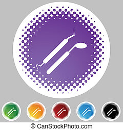 Dental Tools - Dental tools web button isolated on a...
