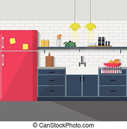 Kitchen furniture. Cozy interior - Kitchen with furniture....