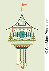 Cuckoo clock flat style doodle vector illustration. Green...