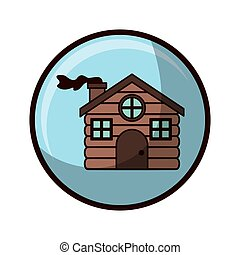 crystal sphere with house made of wood vector illustration