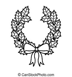 crown Christmas ornament silhouette with leaves