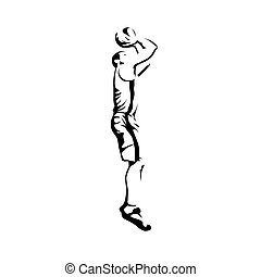 Shooting basketball player, abstract vector silhouette
