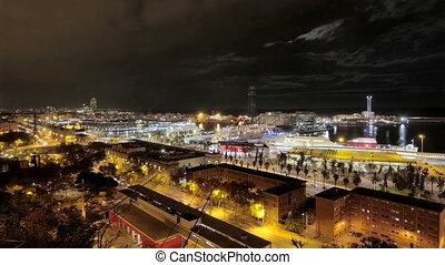 Barcelona Maremagnum Harbor Tourist City Area - Time lapse...