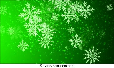 Video-animation of snowflakes falling over green background...