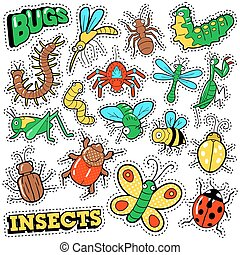 Bugs and Insects Patches, Stickers, Badges Set
