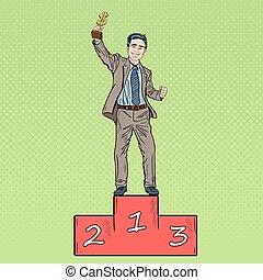 Pop Art Businessman Holding Golden Winners Cup