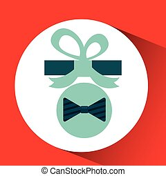 happy fathers day with gift bowtie vector illustration eps...