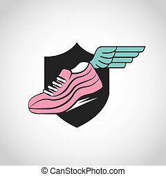 sport running shoes - sport running shoues with wing over...