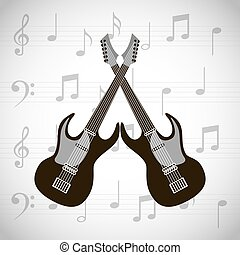 electric guitars icons - electric guitars crossed over white...