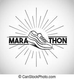 marathon running shoes - running sport shoes icon. marathon...