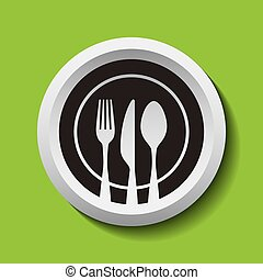 fork knife and spoon icon - Circular Fork Knife and Spoon...
