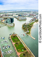 Dusseldorf, Media Harbour with contemporary architecture,...
