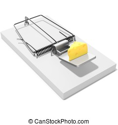 Mouse trap with a piece of cheese on white background 3D...