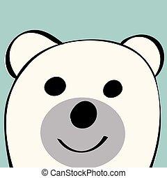 lustiges, spielzeug, bär, tier, weißes, karikatur