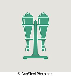Soda siphon equipment icon. Gray background with green....