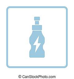 Energy drinks bottle icon. Blue frame design. Vector...
