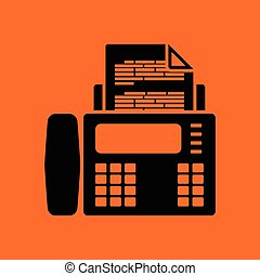 Fax icon. Orange background with black. Vector illustration.