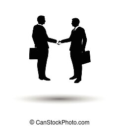 Meeting businessmen icon. White background with shadow...