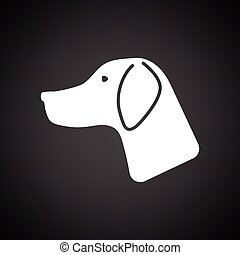Hunting dog had icon. Black background with white. Vector...