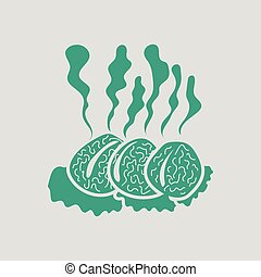 Smoking cutlet icon. Gray background with green. Vector...