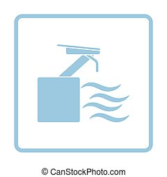 Diving stand icon. Blue frame design. Vector illustration.