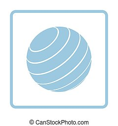 Fitness rubber ball icon. Blue frame design. Vector...