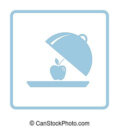 Apple inside cloche icon. Blue frame design. Vector...