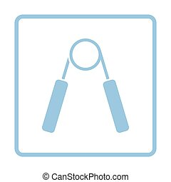 Hands expander icon. Blue frame design. Vector illustration.