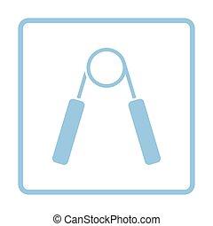 Hands expander icon. Blue frame design. Vector illustration.