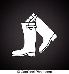 Hunter's rubber boots icon. Black background with white....
