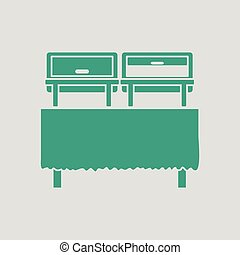 Chafing dish icon. Gray background with green. Vector...